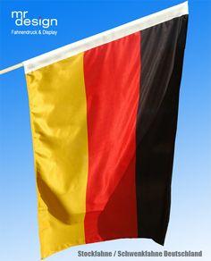 Stockfahne - Schwenkfahne Deutschland - Qualitätsprodukt aus eigener Produktion.  Größe 150 cm x 100 cm.    Mit Hohlsaum aus Gurtband Ø 3 cm (für einen Tragestock)  Gesäumt mit Doppelnaht.