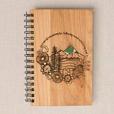 Crafts For Girls Mountains Personalized Wood Journal - Bamboo, Alder, Birch Options Christmas Gifts For Girls, Confirmation Gifts, Writing Paper, Wooden Crafts, Recycled Wood, How To Make Paper, Paper Decorations, Wood Veneer, Custom Wood