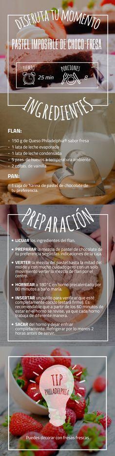 Consiéntete con el dulce sabor de este rico postre.    #recetas #quesophiladelphia #pastelimposible #fresas #postre #recetasnavideñas