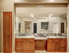 Shaker mahogany bathroom.    -found at Sollid Cabinetry's value series.