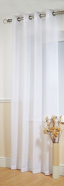 Boston White Voile Panels    Boston is a competitively priced, eyelet-headed, textured voile panel. Priced and sold as single panels.
