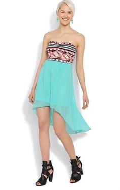 Deb Shops High Low #Dress with #Tribal Bodice and Open Bow Back $20.00