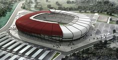 Yeni Hatay Stadium - Hatayspor, Turkey Soccer Stadium, Football Stadiums, Stadium Architecture, Modern Architecture, Rugby, Fifa World Cup, Futuristic, Around The Worlds, Airports