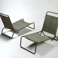 Charlotte Perriand. Folding and stacking chairs, with or without cushions, 1936.