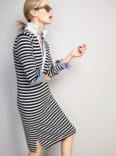 J.Crew women's striped polo sweater-dress, boy shirt in bold stripe and Irving sunglasses. Casual work outfit