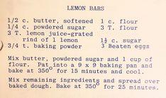Lemon Dessert Recipes, Lemon Bars, Powdered Sugar, Baking Pans, Juice, Butter, Juices, Juicing, Butter Cheese