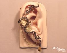 STEAMPUNK EAR WRAP copper and brass ear wrap wire by bodaszilvia