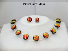 Red/Gold Dichroic Glass Suite by prismartglass on Etsy,