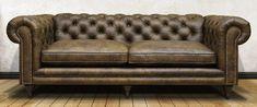 Двухместный диван Честерфилд. Обивка полностью в итальянской коже Loft Onice. Каркас из массива дерева хвойных пород, буковые ножки с покрытием под темный дуб, декорирован гвоздями старое олово, подушки оформлены кантом. Размеры (ДхГхВ), см: 220х100х75