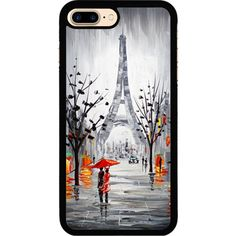 Meeting In The Rain iPhone 7 Plus Rubber Case (5.5 Inch) Black iPhone... (120 DKK) ❤ liked on Polyvore featuring accessories and tech accessories