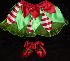Christmas Elf Skirt and Slippers- Toddler Sizes- 1-4t