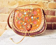 Retro Shopping Bags for Date,Traveling, - Vintage Hand Tooled Leather Bag
