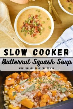 This Slow Cooker Butternut Squash Soup is the epitome of fall comfort food flavors! Just toss everything in the slow cooker or crock pot and enjoy the delicious soup later! Slow Cooker Recipes | Fall Food | Keto | Low Carb | Healthy Recipes | Healthy Meal Prep | Healthy Lunch Ideas | Crockpot Recipes | Crockpot Soup Recipes | Freezer Meals Make Ahead | Soup Recipes | Soup Recipes Healthy | Soup | Easy Dinner Ideas | Easy Dinner Ideas Healthy | Easy Healthy Lunch Ideas | Easy Dinner | Healthy Healthy Low Carb Recipes, Easy Healthy Dinners, Healthy Meal Prep, Easy Dinner Recipes, Dinner Healthy, Delicious Recipes, Butternut Squash Soup, Slow Cooker Recipes, Crockpot Recipes