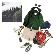 """""""A vintage hike through the woods"""" by goingtocalifornia ❤ liked on Polyvore featuring Moschino, Moncler, Ray-Ban, Converse, Crate and Barrel, Polaroid, vintage and nature"""