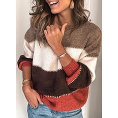 Plus Size Long Sleeve Casual Stripes Sweater Thick Sweaters, Casual Sweaters, Pullover Sweaters, Sweaters For Women, Striped Sweaters, Women's Sweaters, Oversized Sweaters, Casual Shirts, Sweaters Knitted