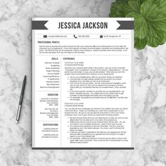 "Creative Resume Template for Word (1, 2 or 3 Page Professional Resume) + Free Cover Letter | CV Template  | INSTANT DOWNLOAD | ""The Banner"""