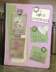 Composition notebook into gardening journal.