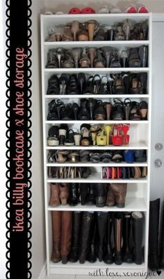 Great idea for shoe storage using a Billy bookcase from Ikea @istandarddesign