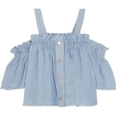 Steve J & Yoni P Convertible off-the-shoulder ruffled denim top (£265) ❤ liked on Polyvore featuring tops, shirts, crop tops, crop, off the shoulder, crop top, off the shoulder crop top, flounce tops, ruffle crop top and off shoulder ruffle top