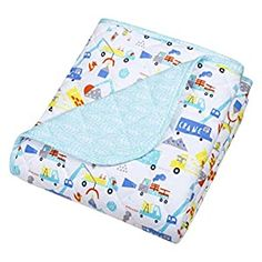 Best Baby Blankets, Cotton Blankets, Cotton Quilts, Crib Bedding Sets, Crib Mattress, Baby Bedding, Construction Theme, Turquoise Background, Toddler Blanket
