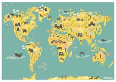 Wereldkaart - Atlas voor in de kinderkamer met dieren figuurtjes #wform #grasonderjevoeten #kinderkamer