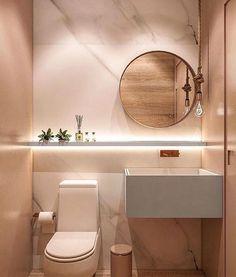 Confira 90 imagens inspiradoras de lavabos e banheiros pequenos e inspire-se. Bathroom Design Luxury, Modern Bathroom Design, Home Interior Design, Bad Inspiration, Bathroom Inspiration, Lavabo Design, Toilet Design, Toilet And Bathroom Design, Bathroom Marble