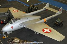Fighter Aircraft, Fighter Jets, De Havilland Vampire, Swiss Air, Old Planes, White Crosses, Cold War, Helicopters, Venom