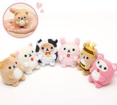 mini Rilakkuma white bear as squirrel plush toy by San-X from Japan