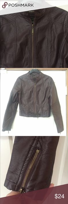 Jou Jou faux leather brown bomber jacket M EUC This is like new. Smoke and pet free home. Bundle discount 20% Jou Jou Jackets & Coats