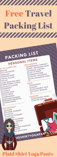 Do you find yourself scrambling to always figure out how to prepare your house and/or pack your suitcase? Do you always forget your toothbrush, hair ties, or undergarments when packing for a vacation? Download Plaid Shirt Yoga Pants free travel packing list today via Plaid Shirt Yoga Pants.