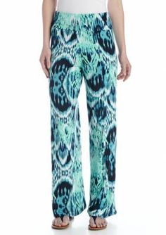 New Directions  Tribal Smudge Printed Palazzo Pant