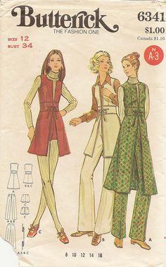 1970s Vtg BUTTERICK Sewing Pattern Jumper-Tunic-Shorts-Pants 12/34. $12.00, via Etsy.