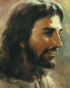 Profile of Smiling Jesus