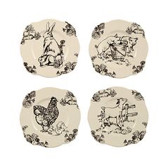 Four Asst J Wilford Barnyard Toile Dessert Plates : Absolutely charming ivory dinnerware adorned with scenes of barnyard animals designed by artist E Trostli. Handcrafted ceramic. By J Wilford. 9