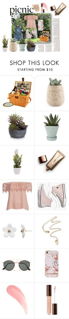 """""""Picnic I"""" by sophy-b ❤ liked on Polyvore featuring Picnic at Ascot, Elements, Chive, Nude by Nature, Madewell, Poporcelain, Ray-Ban and plus size clothing"""