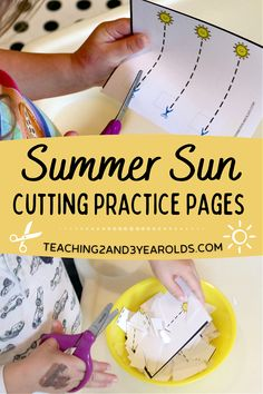 It's easy to strengthen scissor skills with these summer cutting cards! Simply download the free printable for a nice and calm fine motor activity. #preschool #cutting #scissors #scissorskills #finemotor #printable #sun #summer #age3 #teaching2and3yearolds