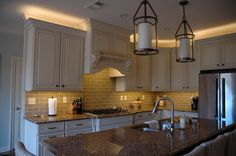 High Efficiency Led Lighting Tape Flexible Strip Lightingled Illuminates This Kitchen In Two Color Temperatures Above The Cabinets An