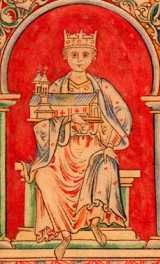 King Henry I (1100-1135). House of Normandy. 24th great-grandfather to Queen Elizabeth II. Successor: nephew, Stephen.  Reign: 35 yrs, 3 mos, 28 days. Youngest son of William the Conqueror; succeeded his brother William II. Won the support of the Saxons by granting them a charter and marrying a Saxon princess, Edith, daughter of Malcolm III of Scotland. Established a system of traveling judges. Died of food poisoning according to legend.