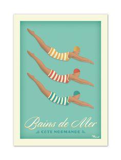 €25 . Affiche Illustration Originale BAINS DE MER « Côte Normande » . Papier 250g/m² Haute qualité couché Mat