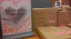"""source Yesterday was Valentine's Day, and also """"International Book Giving Day"""" . I wanted to donate some books, and decided to suppo. Library Displays, Book Displays, Giving Day, Library Bulletin Boards, International Books, Singles Events, Summer Reading Program, Blind Dates, Books For Teens"""