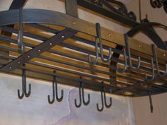 Wrought Iron Pot Rack by CRAFTBENDER on Etsy, $375.00