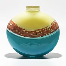 """Spotted Banded Flat Vase in Vanilla and Turquoise with Salmon Spots on Vanilla by Michael Trimpol and Monique LaJeunesse (Art Glass Vase) (10.5"""" x 10.5"""")"""