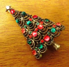 Hollycraft Christmas Tree Brooch