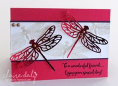 Dragonfly Dreams birthday card from Stampin Up 2017 Occasions Catalogue. Card by Claire Daly, Stampin Up Demonstrator Melbourne Australia Melbourne Australie, Stampin Up Katalog, Bee Cards, Men's Cards, Butterfly Cards, Monarch Butterfly, Stamping Up Cards, Scrapbooking, Cool Cards