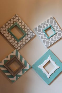 Distressed Frames: Set of Modern Funky Pattern In Grey and Turquoise Table Top or Wall Hanging Cute Frames, Picture Frames, Frames Ideas, Chevron Frames, Deco Marine, Turquoise Table, Distressed Frames, Tadelakt, Funky Home Decor