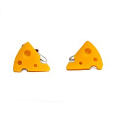 Cheese Cufflinks: These cuff-links would make the gift for any cheese lover. They are sure to be a talking point on any outfit too!  -Each piece of cheese is individually hand cut from yellow 5 mm thick acrylic -Sanded along the edges by hand to give them a smooth finish before the holes are drilled -Securely mounted onto silver plated cufflinks -Designed and made by i am acrylic