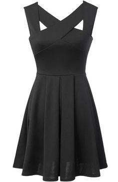 Criss Cross Open Back Flare Black Dress