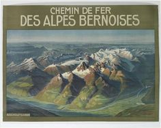 Sale 2267 Lot 221    A. GUGGER (DATES UNKNOWN) CHEMIN DE FER / DES ALPES BERNOISES.   34x46 inches, 88x118 cm. Hubacher & Co., Bern.   Condition B+: repaired tears, creases and abrasions in margins and image; vertical and horizontal folds.     Estimate $600-900