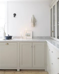 This airy grey could be perfect color for kitchen. Abinets