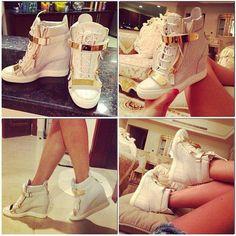 Love these shoes High Heel Sneakers, Sneaker Heels, High Heels, Sexy Heels, Cute Shoes, Me Too Shoes, Bootie Sandals, Designer Heels, Dream Shoes